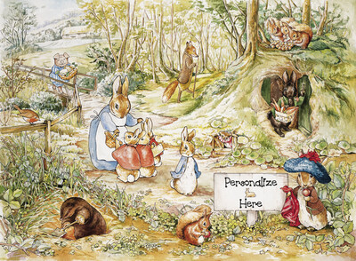 A walk in the woods 2 mural beatrix potter murals your way for Beatrix potter wall mural