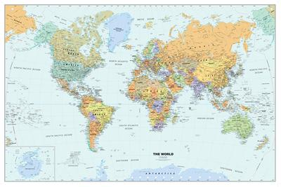 Classic world map mural murals your way maps murals for Classic world map wall mural