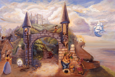 Fairy tale castle mural nicolette capuano murals your way for Fairy tale wall mural